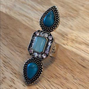 Jewelry - Fun fashion ring - Turquoise - gold tone